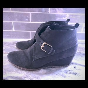 Franco Sarto Charcoal Grey Suede wedge Bootie